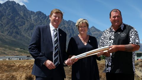 NZCGA President Mike Stanley with NZCGA Sec Gen Kereyn Smith and CGF Oceania Regional Vice President Hugh Graham, as part of the Gold Coast 2018 Baton Relay's visit to New Zealand in December 2017