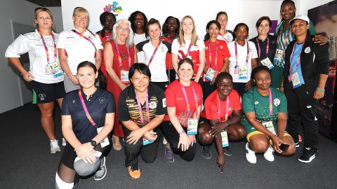 Women Coach Interns on the inaugural CGF programme meet in the Athletes Village on 5 April 2018