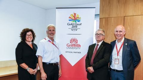 (L-R) Vice President (Global) Prof Sarah Todd; CGF Vice President, Bruce Robertson; Prof Ian O'Connor AC, Vice Chancellor, Griffith University; Prof Michael Powell, Academic Director, Griffith University