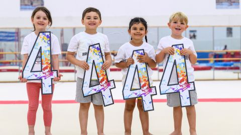 Four 4 Year Olds join a gymnastics class to help Birmingham 2022 celebrate 4 Years to Go!