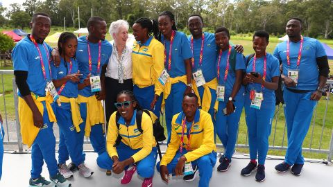 The CGF President Louise Martin CBE joins Team Rwanda on the Gold Coast in April 2018 for a visit to a local school