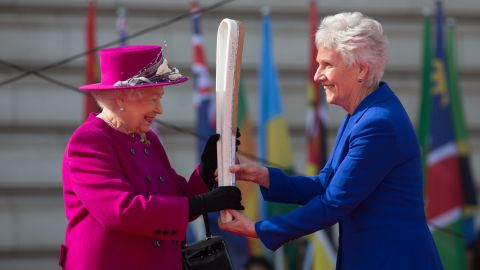 HM The Queen and Louise Martin CBE at the launch of the 2018 Queen's Baton Relay at Buckingham Palace