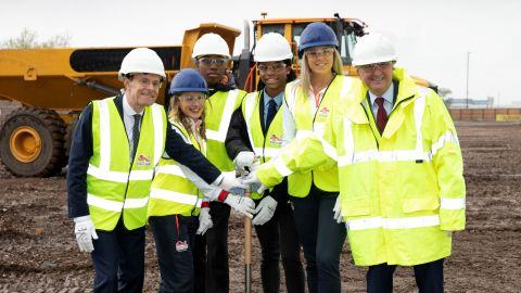 West Midlands Mayor Andy Street and Birmingham City Council Leader Ian Ward join Team England athletes and local school pupils at the groundbreaking ceremony for the Commonwealth Games Village in Perry Barr, Birmingham