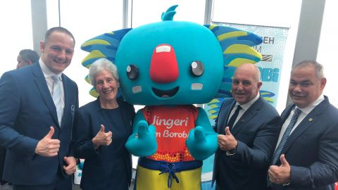 Borobi with Gold Coast City Mayor Tom Tate, CGA CEO Craig Phillips, CGF President Dame Louise Martin and CEO David Grevemberg