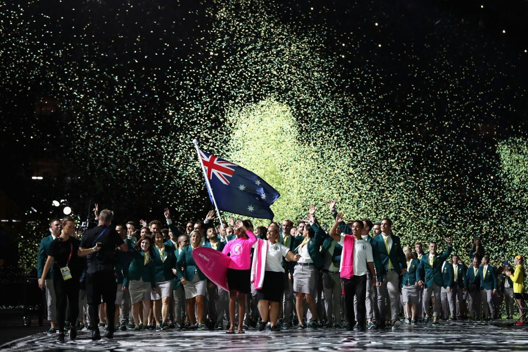 Team Australia enters the stadium at the Gold Coast 2018 Opening Ceremony