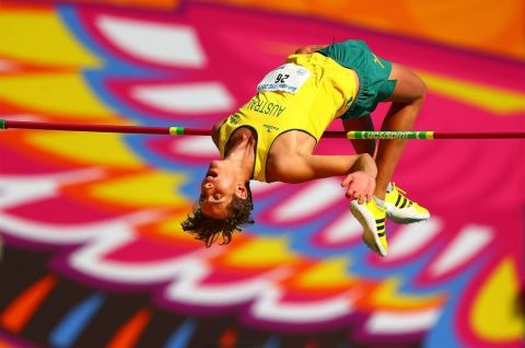 Sean Szalek of Australia jumps to win the gold medal in the Boys High Jump Final at the Athletics on day 5 of the Bahamas 2017 Commonwealth Youth Games